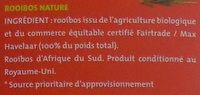 Rooibos nature bio & équitable - Ingredients