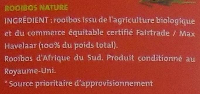 Rooibos nature bio & équitable - Ingrediënten