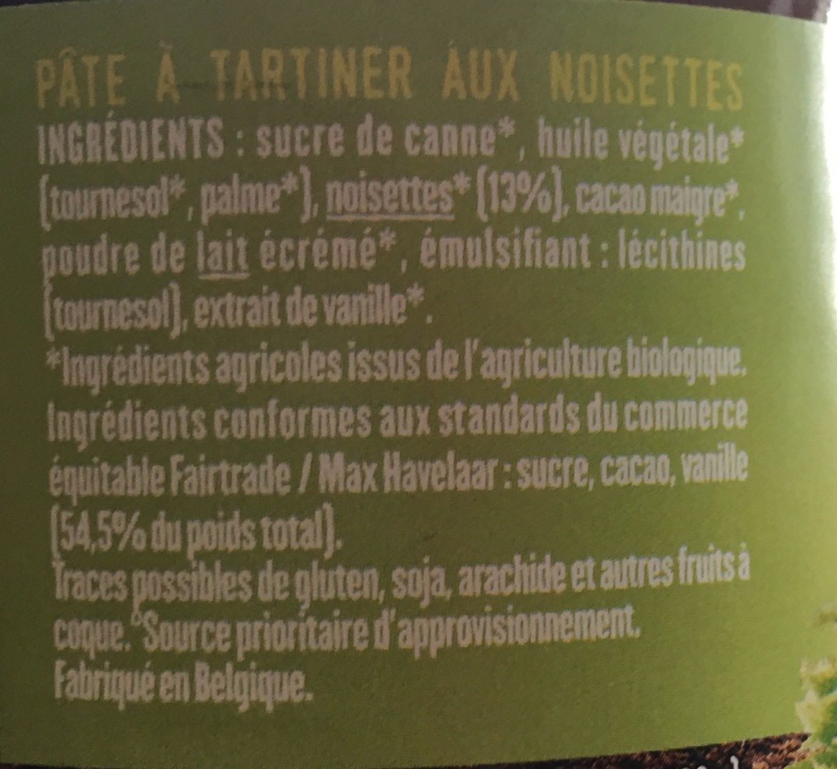 Pâte à tartiner - Ingredients - fr