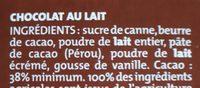 Chocolat Lait classique dégustation Bio Alter Eco - Ingrédients