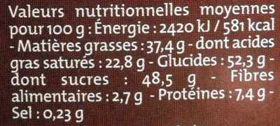 Chocolat Lait classique dégustation Bio Alter Eco - Informations nutritionnelles