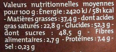 Chocolat Lait classique dégustation Bio Alter Eco - Voedigswaarden