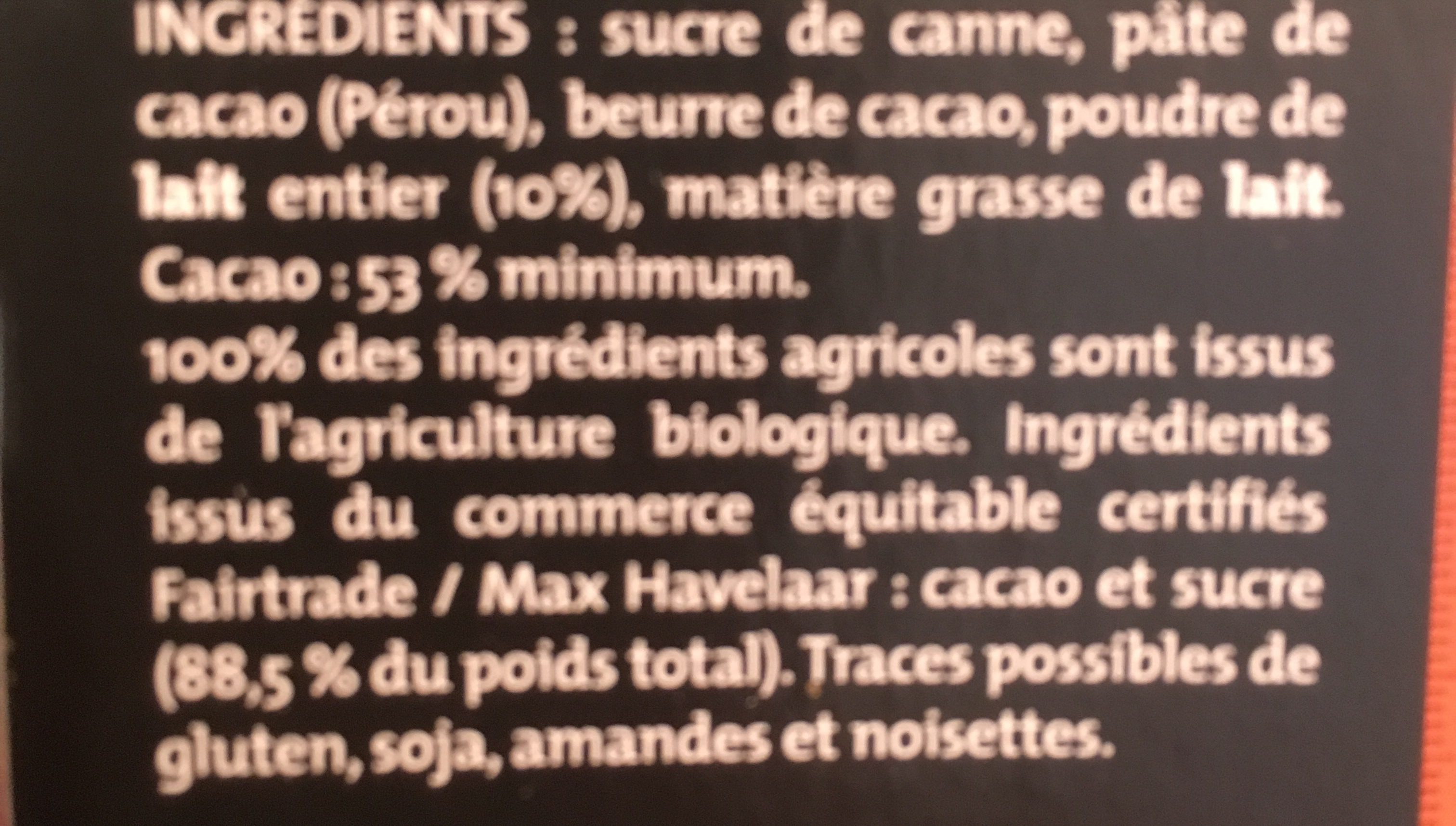 Chocolat noir doux et fondant bio et équitable - Ingrédients - fr