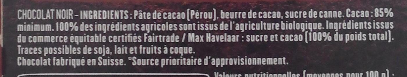 85% Pérou Fruité et Corsé - Ingrédients - fr
