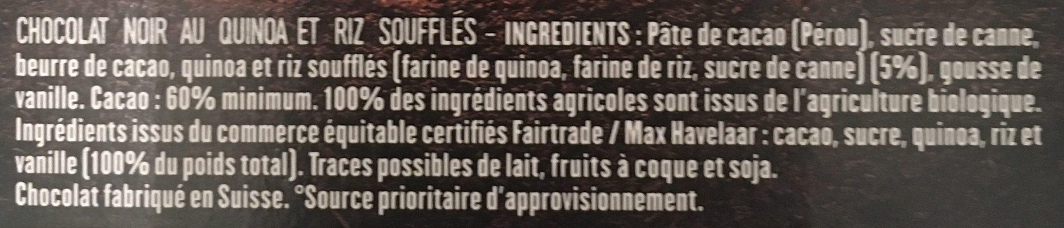 Chocolat Noir quinoa soufflé Bio - Ingrediënten