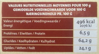 Cookies Nougatine - Informations nutritionnelles