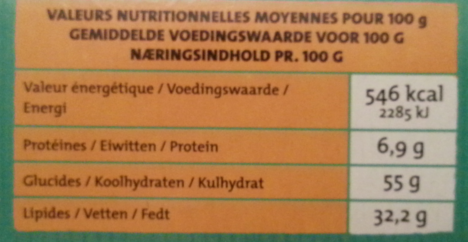 Cookies coco choco - Nutrition facts - fr