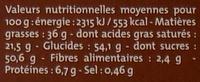 Lait Caramel Beurre salé - Nutrition facts