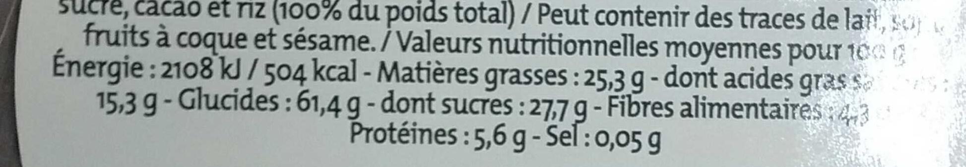 Galettes de riz complet au chocolat noir - Valori nutrizionali - fr