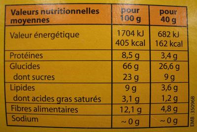 Muesli pomme-abricot Bio et Equitable Alter Eco - Informations nutritionnelles - fr