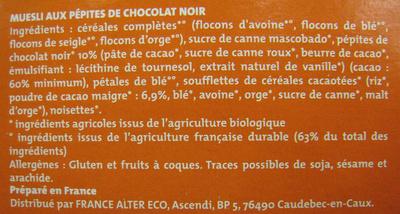 Muesli croustillant choco bio Alter Eco - Ingrédients - fr