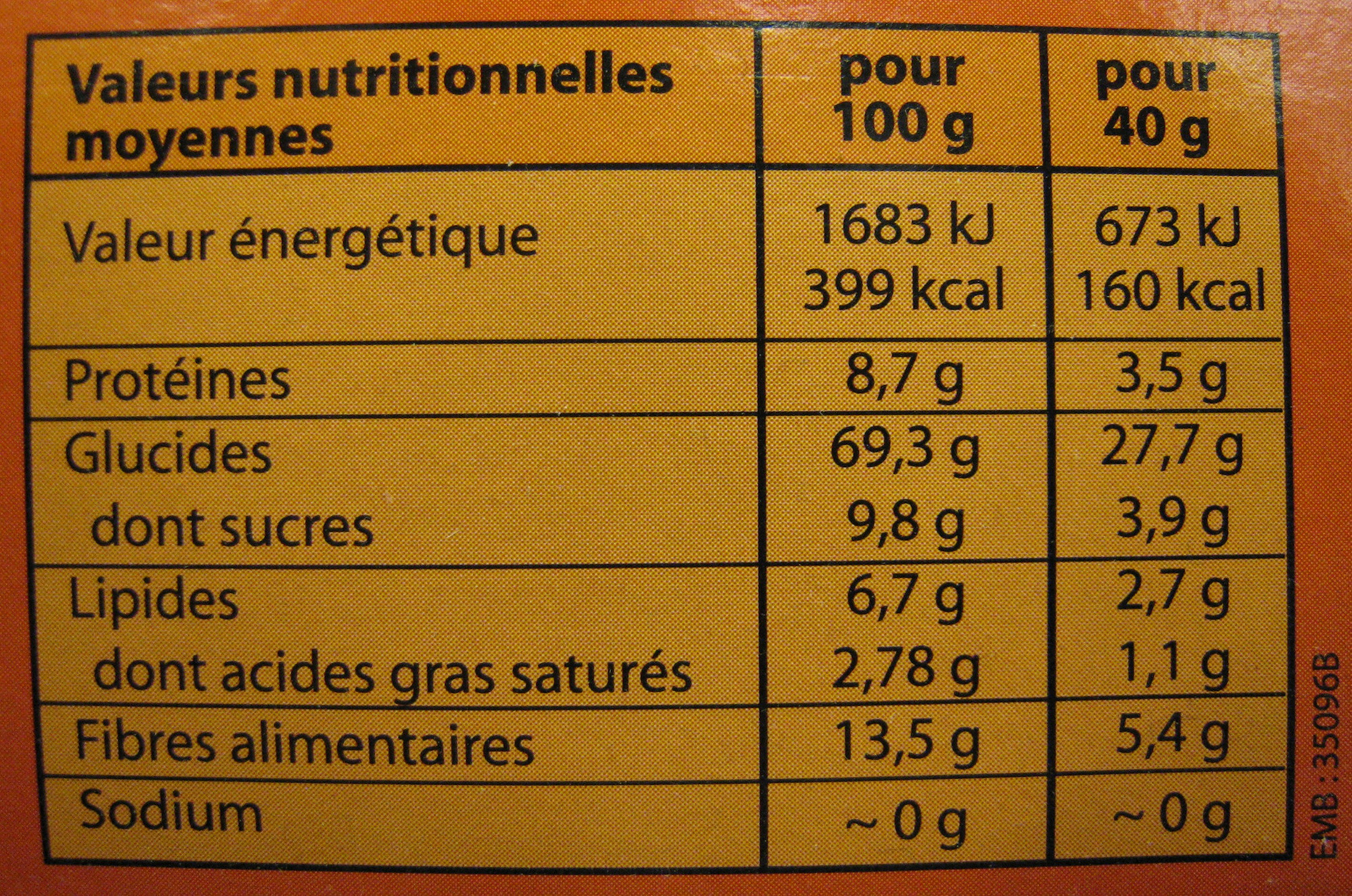 Muesli croustillant choco bio Alter Eco - Informations nutritionnelles - fr