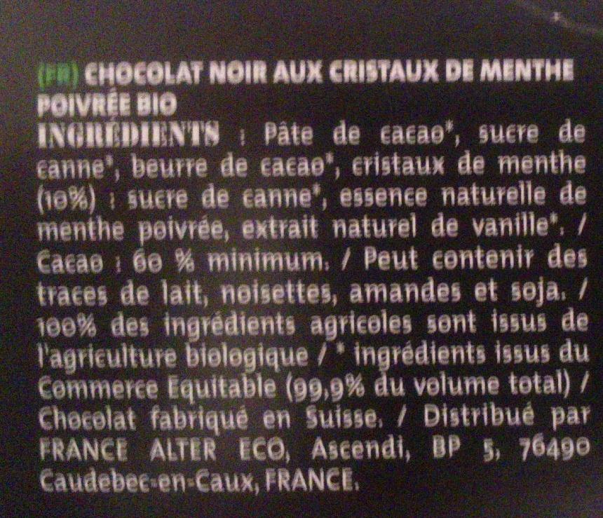 Noir Menthe - Ingrédients - fr