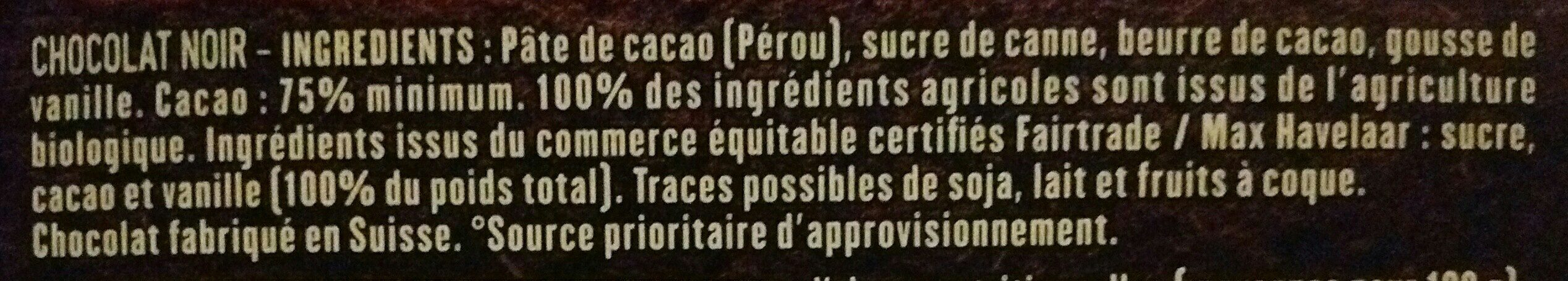 Chocolat noir 75% Pérou - Ingredienti - fr