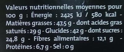 Chocolat noir 75% Pérou - Valori nutrizionali - fr