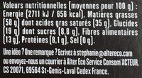 Pérou 90% - Informations nutritionnelles