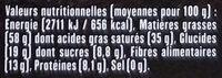 Chocolat noir Pérou 90% fruité et boisé - Informations nutritionnelles - fr