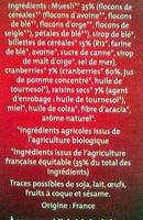 Cranberries Céréales - Ingrédients - fr