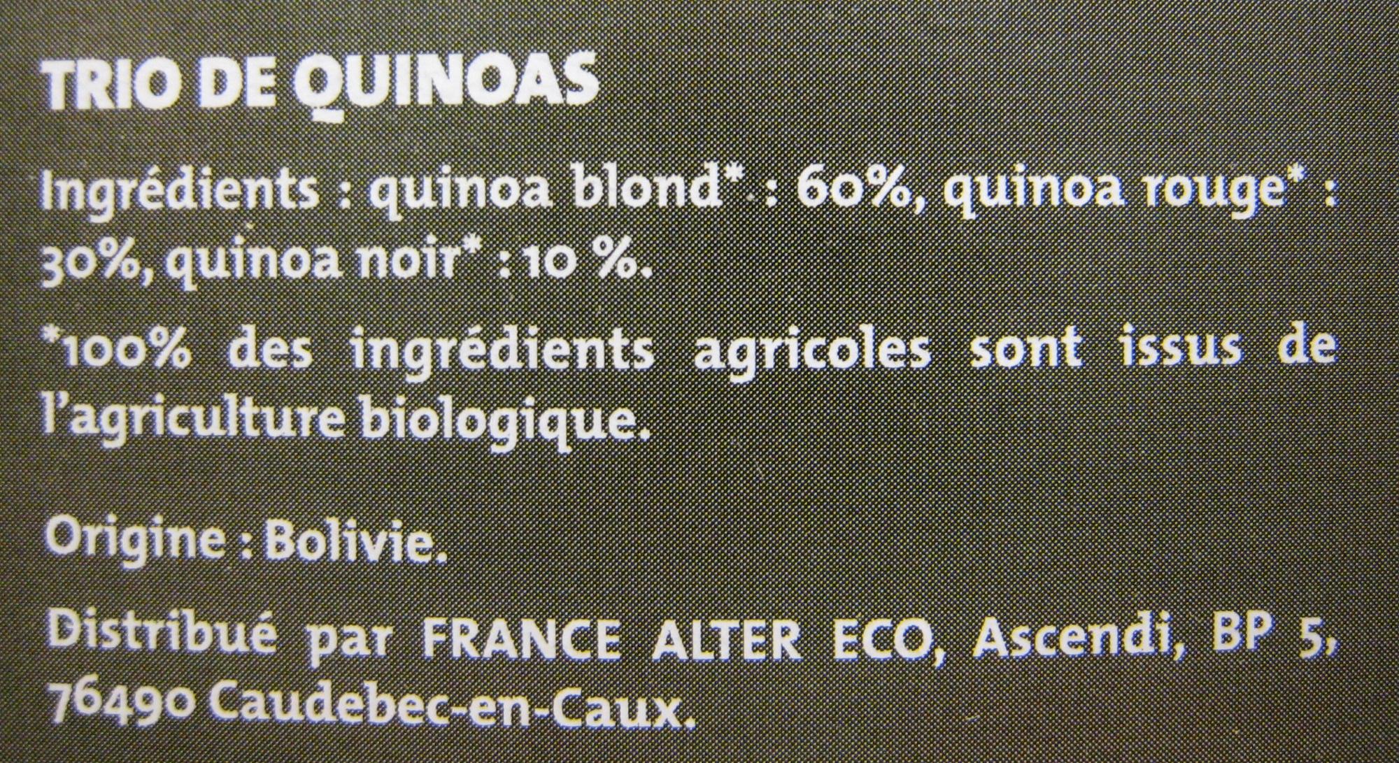 Trio de quinoas blond rouge noir Bio et Ethiquable Alter Eco - Ingredients