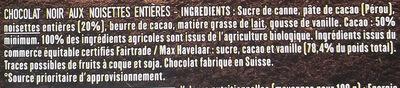 Noir et noisettes entières - Ingrédients - fr