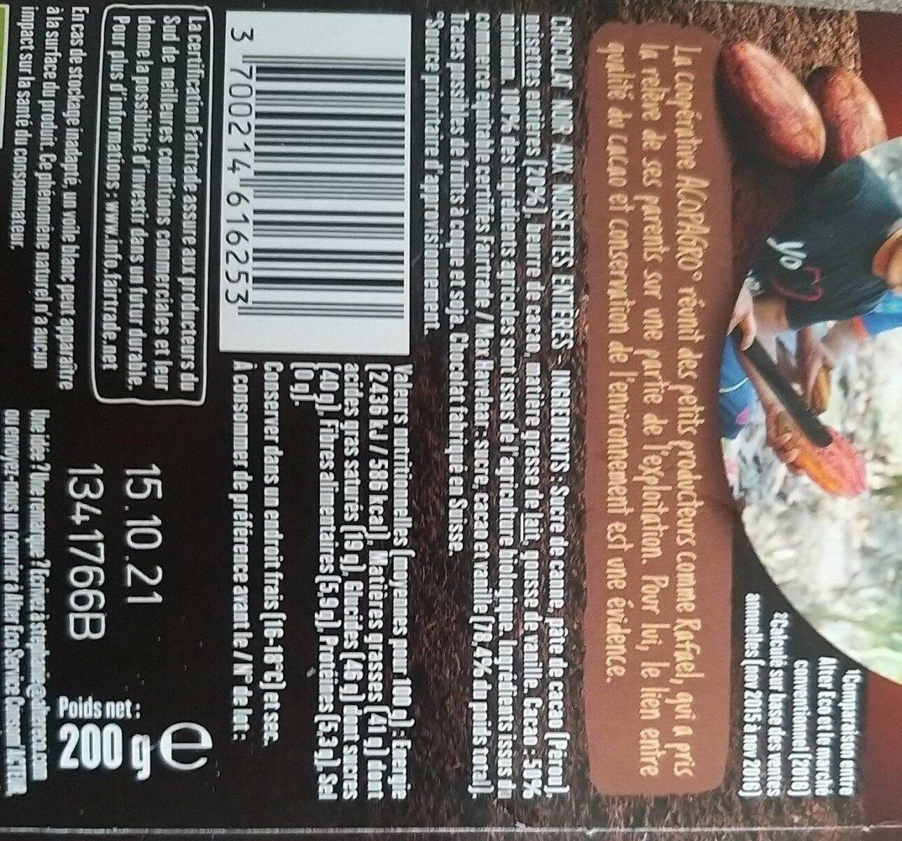 Noir et noisettes entières - Informations nutritionnelles - fr