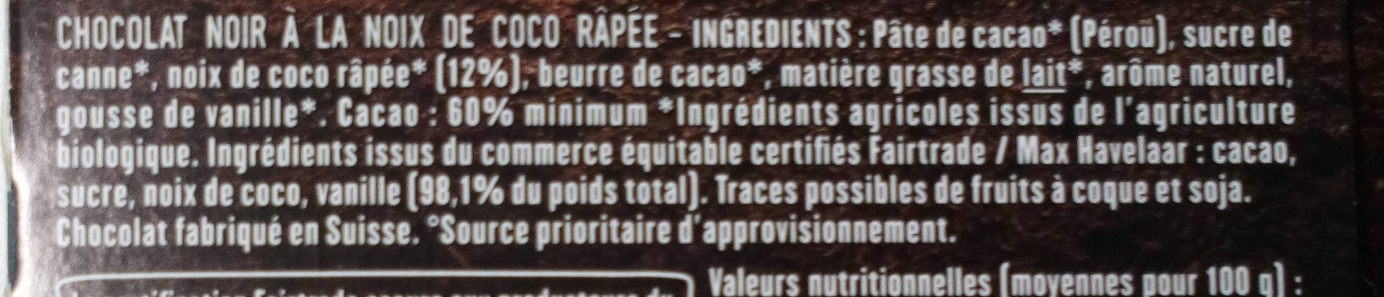 Chocolat Noir éclats De Coco - Ingredients - fr