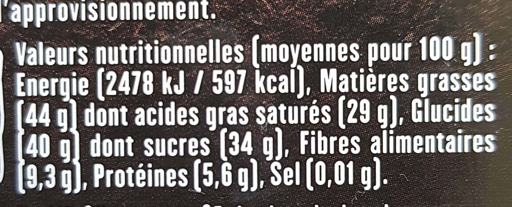 Chocolat Noir éclats De Coco - Nutrition facts - fr