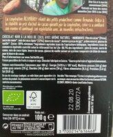 Chocolat Noir éclats De Coco - Nutrition facts - fr