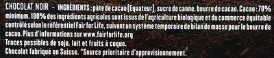 Chocolat noir 70% Equateur - Ingredients - fr