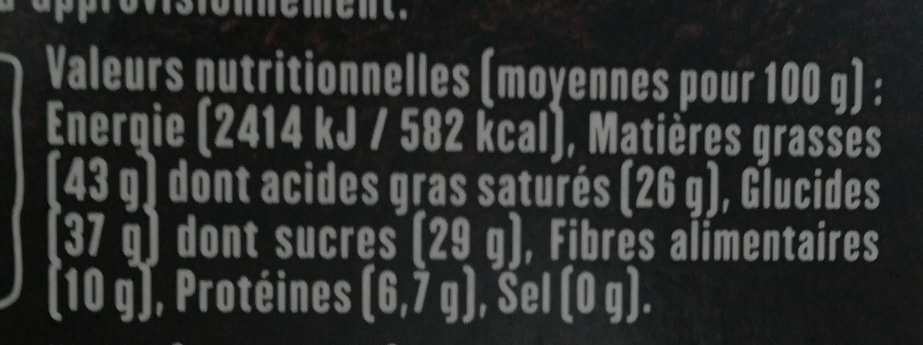 Chocolat noir 70% Equateur - Nutrition facts - fr