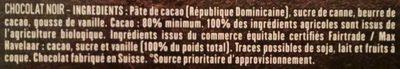 République Dominicaine 80% - Ingrediënten