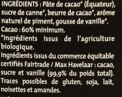 Noir pointe de piment - Ingredients