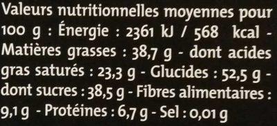Noir pointe de piment - Nutrition facts
