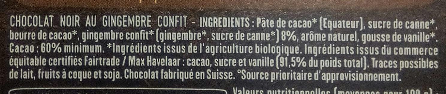 Noir Éclats de Gingembre - Ingrédients - fr