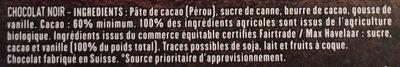 Noir Intense Dégustation - Ingredients