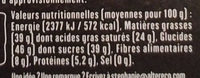 Noir Intense Dégustation - Nutrition facts