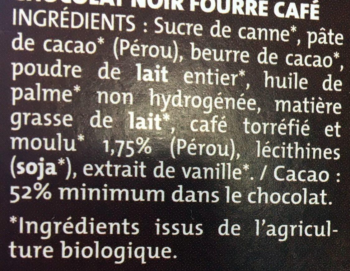 Chocolat Noir Fourré Moka - Ingredients