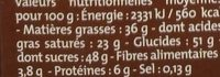 Chocolat Noir Fourré Moka - Nutrition facts