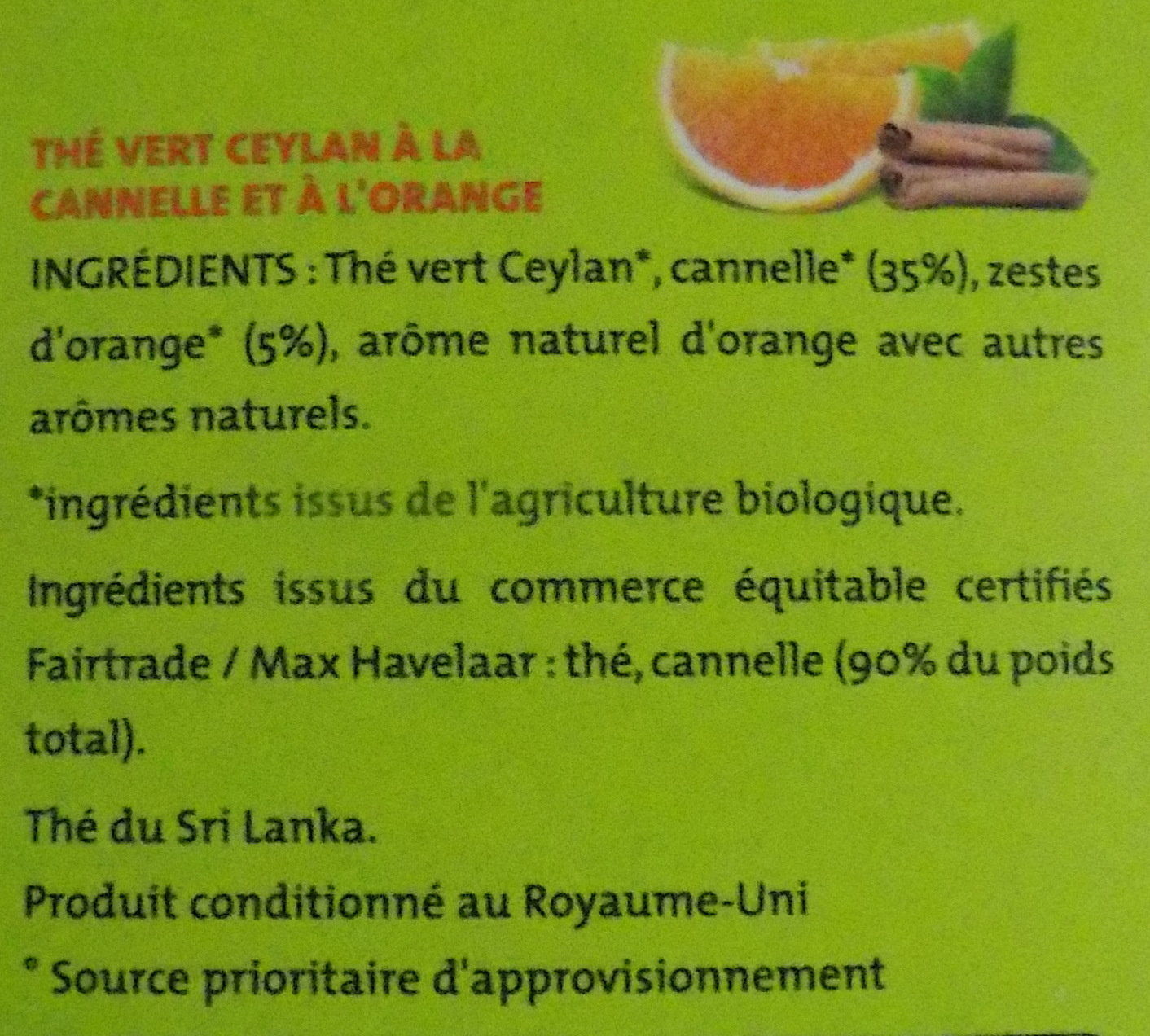 Thé vert Orange Cannelle - Ingrediënten