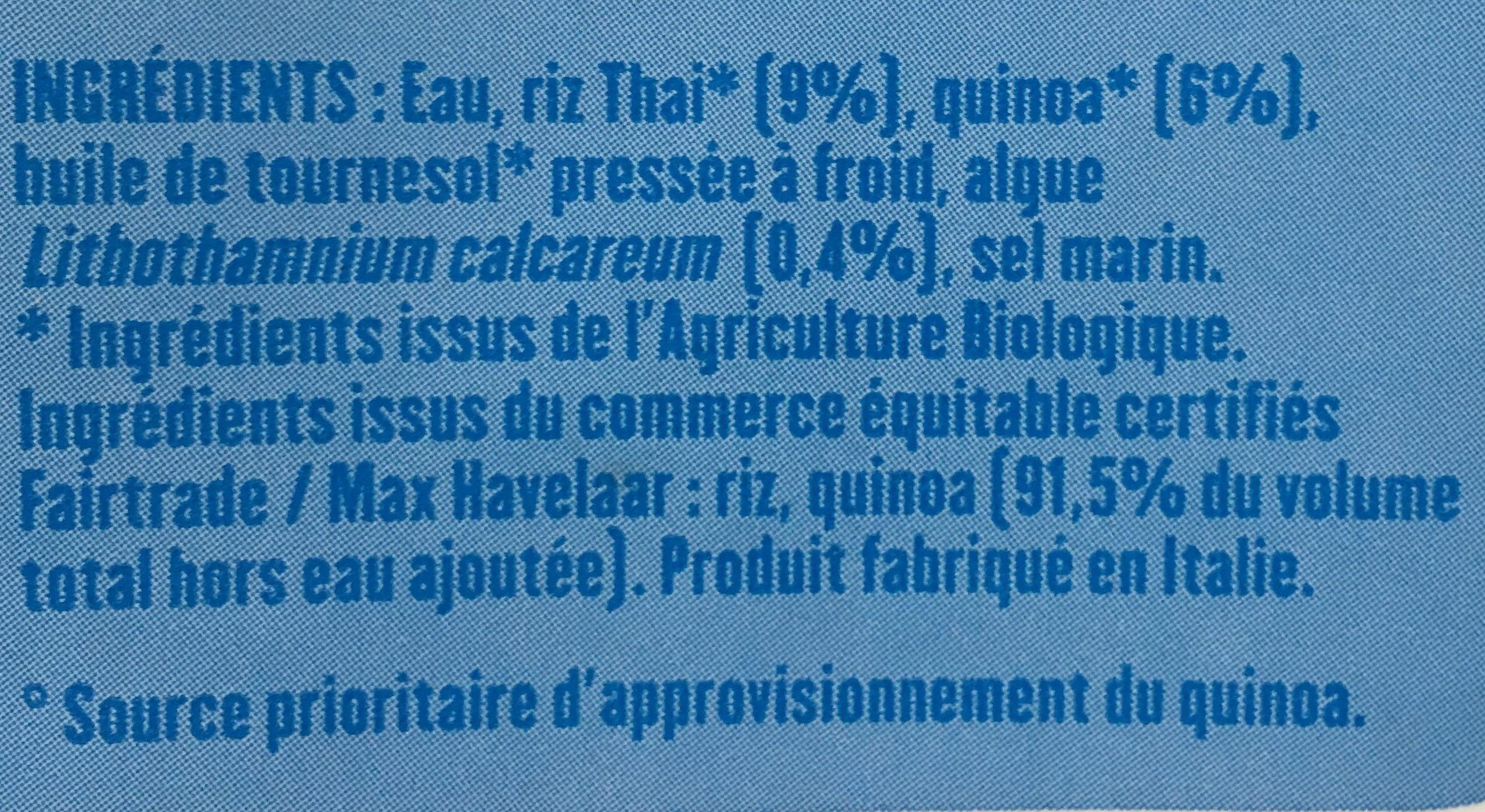 Boisson - Riz quinoa calcium - Ingredients - fr