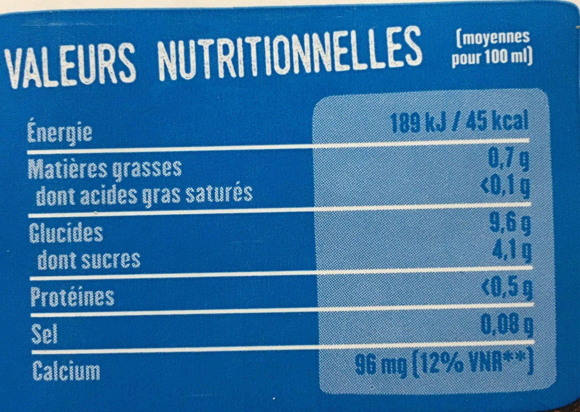 Boisson - Riz quinoa calcium - Nutrition facts - fr