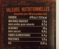 Trio de Quinoa blond rouge noir - Valori nutrizionali - fr
