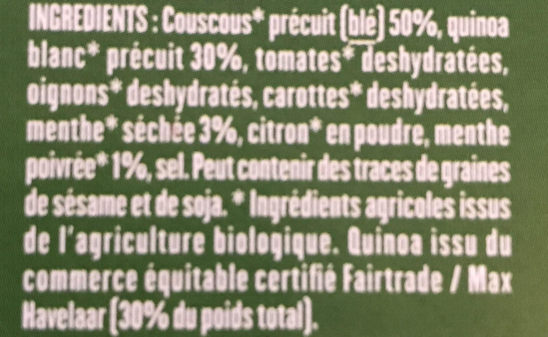 Taboulé de quinoa à la menthe - Ingrédients - fr