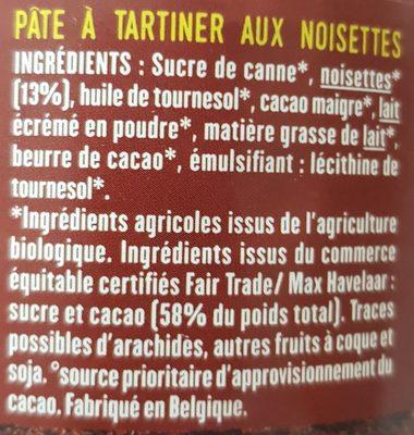 Pâte à tartiner sans huile de palme - BIO & ÉQUITABLE - Ingrediënten - fr