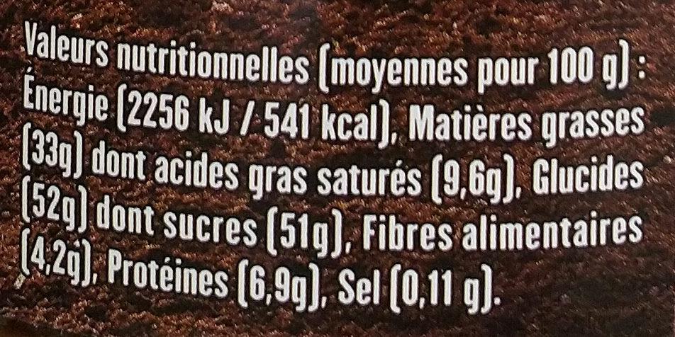 Pâte à tartiner sans huile de palme - BIO & ÉQUITABLE - Voedingswaarden - fr