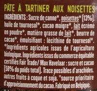 Pâte à tartiner - Ingrediënten - fr
