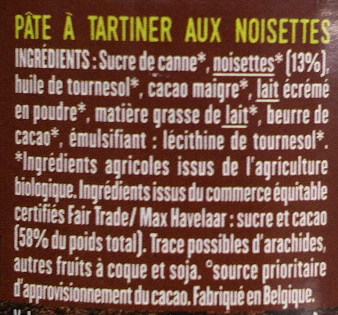 Pâte à tartiner aux noisettes - Ingredientes - fr