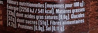 Pâte à tartiner - Informació nutricional