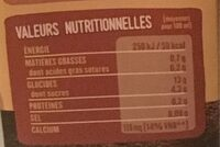 Boisson riz sorgho calcium - Voedingswaarden