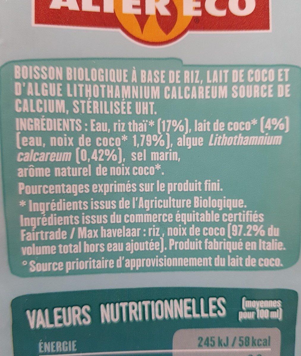 Boisson riz coco - Ingrédients - fr